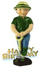 Male Gardener Resin Topper with Happy Birthday Motto